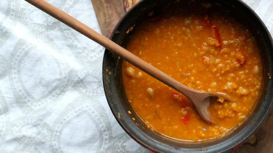 Zuppa di ceci con focaccine alle erbe