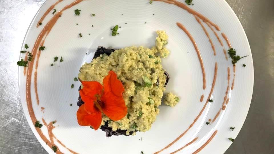 Quinoa in crema di arancia e asparagi