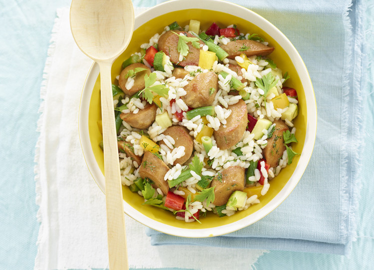 insalata di riso con wurstel di ceci