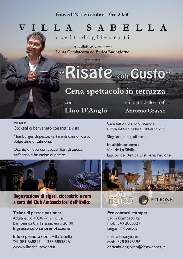 21 settembre Risate con Gusto cena spettacolo con Lino D'Angiò web